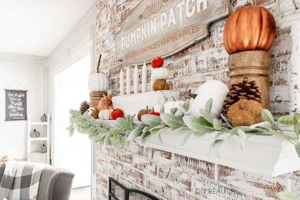 autumn fireplace decor
