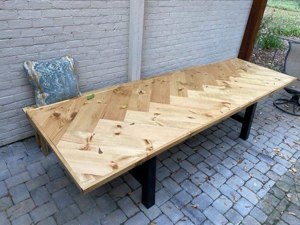 how to make a herringbone table