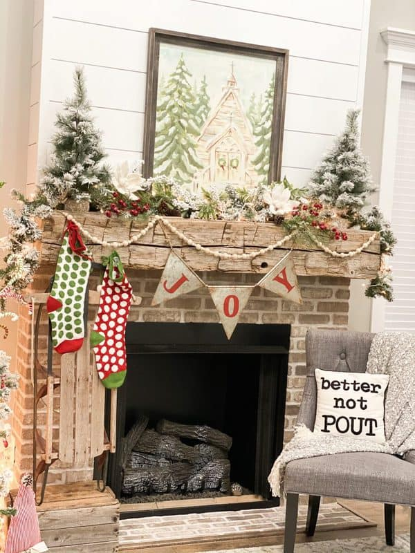 country christmas mantel decorating ideas